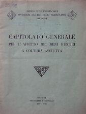 1930-CAPITOLATO GENERALE PER L'AFFITTO DEI BENI RUSTICI-AGRARIA-BOLOGNA