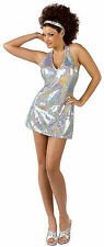 Fun World Women's Disco Ball Diva Sequin Mini Dress Adult Costume M/L 10-14