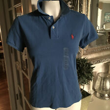 NEW POLO RALPH LAUREN Womens Skinny Fit Short Sleeve POLO SHIRT delph blue Large
