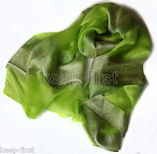 Women/Ladies Super True Tai 100% Silk Oblong Beach Scarf Shawl Wrap Green New