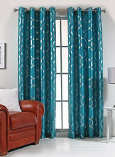 "Lafayette Faux Silk 56"" X 84"" Metallic Print Grommet Panel Teal Color"