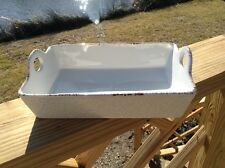 Ceramic Baking Dish by Blue Jean Chef Speckled Paint White Rectangle