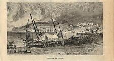 Stampa antica ALMERIA barche Andalusia Spagna 1896 Old print Grabado antiguo