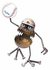 """SugarPost Hand-Made Metal """"Gnome Be Gone"""" Lawn Sculpture, """"Baseball"""", 12"""" Tall"""
