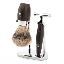 Muhle KOSMO Bog Oak Safety Razor & Fine/Super Badger Hair Shaving Brush Set