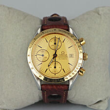Omega Speedmaster Automatic 18K Gold Steel Date 175.0043 Serviced Watch with Box
