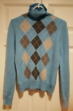 Apt. 9 100% Cashmere Blue and Gray Argyle Turtle -Neck Sweater Size M top