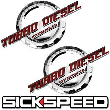 2 PC RED/CHROME TURBO DIESEL ENGINE MOTOR BADGE FOR TRUNK HOOD DOOR TAILGATE A