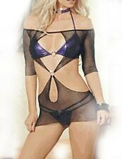 Sexy Women Purple Bikini Black mesh Lingerie Underwear Babydoll Clubwear dress