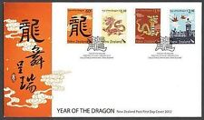 NEW ZEALAND FDC 2012 YEAR OF THE DRAGON SET OF 4 (ID:F2399)