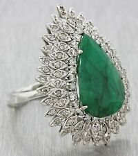1960s Vintage Art Deco 14k White Gold 15ct Emerald 1.5ctw Diamond Cocktail Ring