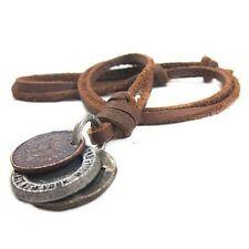 Herren Damen Schmuck Vintage 3 Münzen Anhänger kunstleder Halsband Halskette Neu