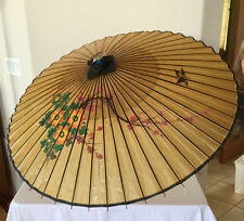 Antique Umbrella Chinese Oriental Wooden Old Bamboo Parasol Handmade Excellent