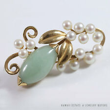 MING'S HAWAII NATURAL GREEN JADE SHAPE & PEARL BRANCH 14K YELLOW GOLD BROOCH