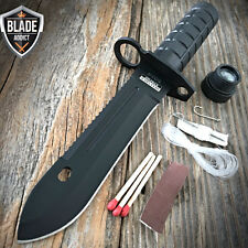 "9"" Tactical Hunting Rambo BLACK Fixed Blade Knife Military Bowie + Survival Kit"