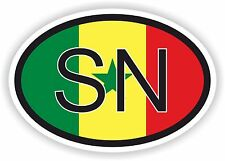SENEGAL AFRICAN COUNTRY CODE OVAL FLAG STICKER bumper decal car bike tablet