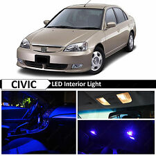 Blue Interior LED Light Package Kit 2001-2005 Honda Civic Sedan Coupe
