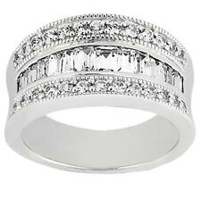1.00 ct Triple Row Round and Baguette Cut Diamond Anniversary Ring in Platinum