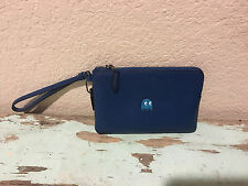 NWT COACH Pac-Man Denim Blue Leather Corner Zip Wristlet *Limited Edition 54841