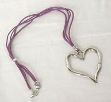 long abstract large heart silver necklace purple cord Lagenlook adjustable
