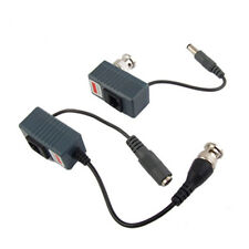 2 x CCTV Camera UTP BNC Male to RJ45 5.5x2.1MM Power Video Balun Transceiver DT
