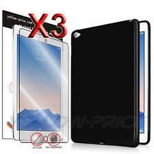 iPad Air 2 Black Soft TPU Back Case Protective Cover Screen Protector For iPad 6