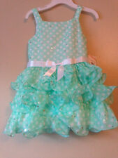 NWT Bonnie Jean® Dot to Tiered Chiffon Green White Dress Toddler Girls Size 2T