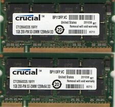 2GB (2x 1GB Kit) Dell Inspiron 2200 5150 5160 8500 8600 8600C 9200 Laptop Memory