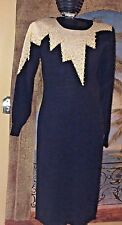 Betsy Lauren Vtg 80s  Pearl Beaded Fitted Glam Black Sweater Dress Size S