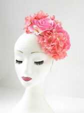 Light Pink Hydrangea Rose Flower Fascinator Headpiece Races Vtg Headband 2146