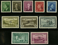 Canada  1950   Unitrade # O16-O25    Mint Lightly Hinged Set   VF