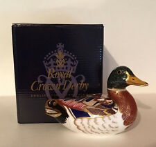 ROYAL CROWN DERBY BIRD PAPERWEIGHT *MALLARD DUCK* GOLD STOPPER '1ST' - BOXED