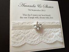 Personalised Vintage Pearl Cluster Day/evening Pocketfold Wedding Invitations