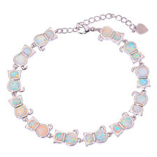Best Gift White Fire Opal Cat Women Jewelry Gemstone Silver Bracelet 7.5'' OS333