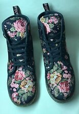 DR. MARTENS FLORAL PRINT CANVAS LACE UP ANKLE BOOTS
