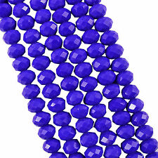 FACETED RONDELLE CRYSTAL GLASS BEADS 4x3mm Blue Opaque - 150 BEADS