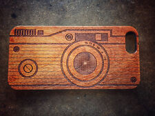 Wood Case in Custom Camera Style for iphone or Samsung - Engraved in CA