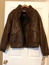 New MENS NORTH POLE Dual-Lined Genuine BROWN LEATHER JACKET - Solid - Size XL
