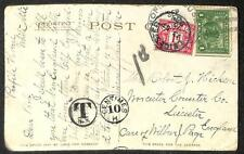 BALD MOUNTAIN NEW HAMPSHIRE ENGLAND POSTAGE DUE STAMP POSTCARD 1915