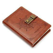 Diary Notebook Vintage Brown B6 Rudder Leather With Combination Lock 112 sheets