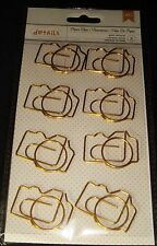 American Crafts METAL Paper Clips JUMBO GOLD CAMERA 8 pc Embellish Scrapbook