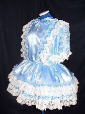 SISSY~MAIDS~ADULT BABY~UNISEX~CD/TV ~ FETISH BLUE SATIN AND WHITE LACE DRESS