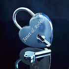 Personalised Engraved Polished Silver Chrome Love Lock Heart Padlock with Key!!