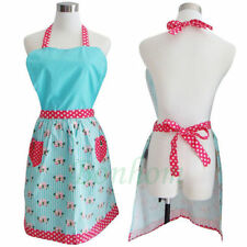 1pc Vintage Apron - Retro Apron - Light Blue - Kitchen Apron - Cotton Apron