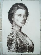 A4 Charcoal Sketch Drawing James Bond Girl Jane Seymour as Solitaire
