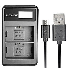 Neewer USB Dual Battery Charger with LED Display for Canon LP-E6 Battery
