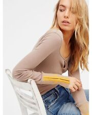 """NWT $68 Free People """"Mod Stripe Cuff"""" in Taupe size Medium *We The Free* Thermal"""