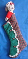 """plush grey mouse poking out of country plaid Christmas stocking 22"""""""
