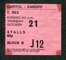 1971 T Rex Concert Ticket Stub Cardiff Wales Electric Warrior Bang A Gong