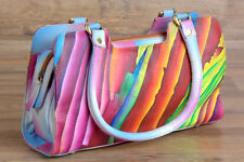 ZINT Women's Handbag Genuine Leather Hand Painted Abstract Art Colorful Purse